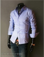 2013 Hot Men's Shirts Fashion Simple Plaid Shirt Male Long-sleeve Shirts Men's Clothing 5 Colors Size: S-XL