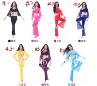 free shipping 7set belly dance costume set belly dance top with pants 7color choose