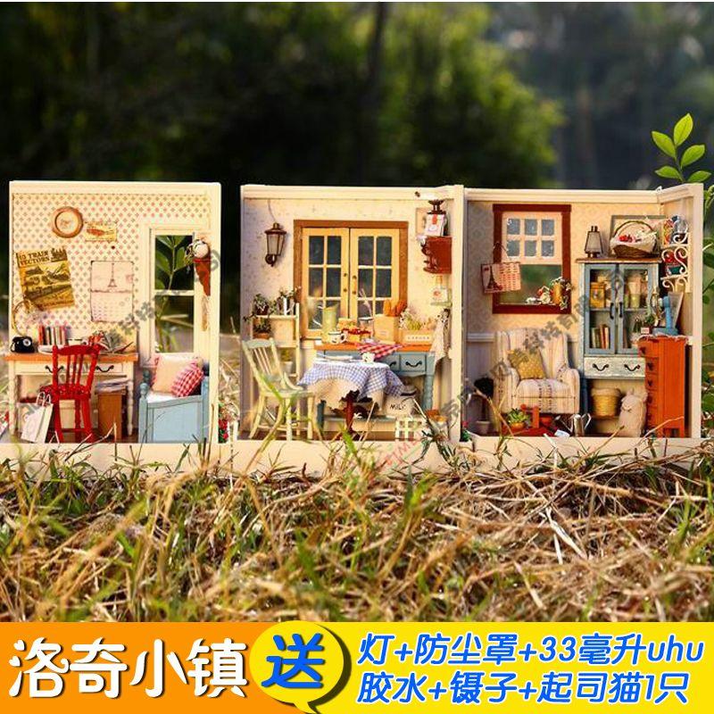 Handmade diy assembling model dust cover kit kitten dollhouse miniature toys(China (Mainland))