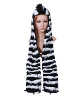 Novelty cartoon animal hat plush hat black and white