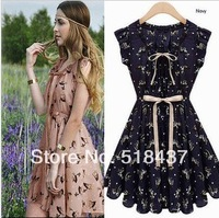 beautiful deer dress 2013  fashion dress summer one-piece dress medium skirt onta chiffon new style european free shipping