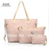 Free Shipping 2013 new High(3PCS) quality Three-piece Genuine PU brand composite cow leather totes Shoulder Bag women handbags
