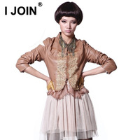 2013 autumn women outerwear slim PU women's small leather clothing short design long-sleeve patchwork water washed leather