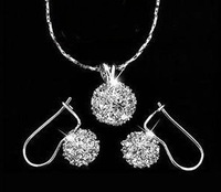 Silver 18KGP Crystal Necklace and earring set