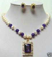 Freshwater pearl amethyst pendant necklace earring set
