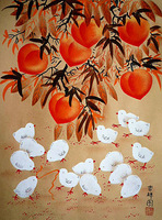 Peaches, chicks, flower and bird painting, Huxian peasant paintings, hotel and home furnishing decoration painting.