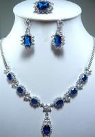 18KGP blue zircon necklace pendant earring & ring set