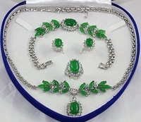 Green Jade Necklace Bracelet Earring Ring Sets with box