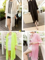 Free Shipping Korean Fashion Three Quater Sleeve Stand Collar Long Chiffon Shirt Cardigan Candy Color Shirt Top Women 8170#