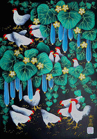 Towel gourd and chicken, flower and bird painting, Huxian peasant paintings, hotel and home furnishing decoration painting.