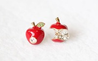 Min order is $10(mix order)fashion lovely red apple South Korea edition asymmetric rhinestone earring women stud earrings EH359