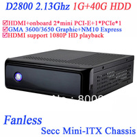1G RAM 40G HDD fanless mini pc with Intel NM10 Express Chipset Intel dual core D2800 2.13Ghz 2* mini pcie for msata and WIFI