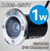 Outdoor LED ground Light + 1Watt + IP67 + DC12V/AC110-240V+ 6 colors for option + 4pcs/Lot+ Free shipping
