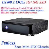 thin mini-ITX desktop computer systems with fanless heatsink Intel D2800 1G RAM 16G SSD 2 mini pcie for msata wifi and PCIE*1