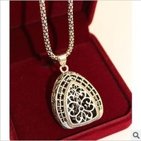 Chinese Tibetan Silver Craved Flower Water-drop Pendant Long Necklace Vintage for women ethnic jewelry2013