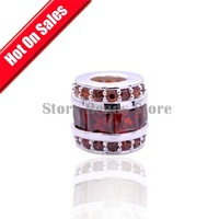 100% 925 Sterling Silver Column Shape Slide Spacer Charm Beads with Red Crystal,DIY Jewelry Findings  Fit Charm Bracelets GC056B