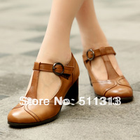FREE SHIPPING 2013 Summer vintage fashion full grain leather high thick heel round toe T-shape belt women shoes