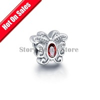 925 Sterling Silver Butterfly Slide Charm Beads with Ruby Gemstone, Compatible With Pandora Style Bracelet GC049A