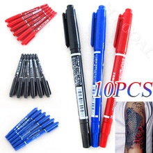 10x Dual-Tip Tattoo Skin Marker Piercing Marking Pen Scribe Tool Supply Surgical[200615](China (Mainland))