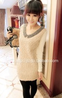 Ladies fashion peter pan collar full sleeve skinny patchwork wool bead decor one piece above knee dress free shipping A526-2-960