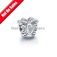925 Sterling Silver Butterfly Slide Charm Beads with Clear Crystal, Fit European Charm Bracelets DIY Making GC049B