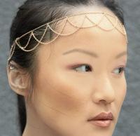Free Shipping, New Arrive PUNK Nightclub Gold & Black Tassels Chain HairbandHairwear, Women's Fashion Beach Jewelry As Present