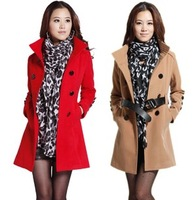 Free Shipping Women's Outwear Medium-long Wool Coat female Thickening Autumn Winter Slim Overcoat Plus Size YP-0854