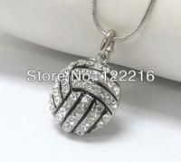 free shipping 5pcs a lot  promotional hot sale volleyball with crystal pendant necklace fashion jewelry