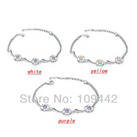 Wholesale 6pcs/lot 2013 Fashion Adjustable Hollow Out Lucky Four Leaf Bracelets Set With Austrain Crystal GB100 Free Shipping