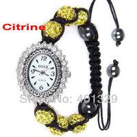 Free Shipping! Fashion Women Shamballa Bracelet Watch Jewellery, 6pcs Disco Ball Beads, Gift Battery