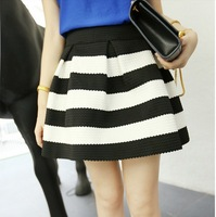 woman new fashion black and white striped zipper open back ball gown mini skirts free shipping A521B-5030