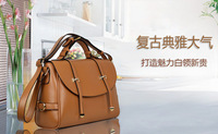 Free shipping 2013  hot sale Genuine Leather handbag solid casual shopping travelling shoulder bag crossbody bag European style