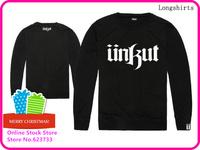 Stock Free Shipping Cheap Brand Unkut Long High Quality Brand Men's UNKUT T Shirt Blue Fashion Shirt Casual Hip hop t shirt