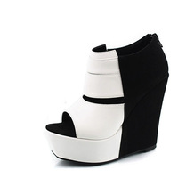 Black and white color block decoration fashion wedges fashion women's shoes cutout open toe shoe t color block decoration boots
