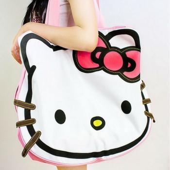 2013 Hello Kitty Handbag cute Kitty Bag Female's Messenger Bag Canvas Handbag Large Travel Bag