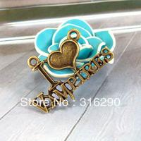 DIY jewelry accessories wholesale 35 * 16 mm ancient bronze alloy double crane love letters
