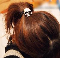 Free shipping,Min order 15$ (Mixed order) Wholesale Fashion Retro Rock Punk Alloy 3D Gothic Skull Head Elastic Hair Band Clasp