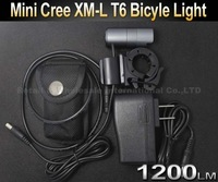 10PCS/LOT Mini CREE XM-L T6 1200LM LED Bike Bicycle Light Headlight Front Light Lamp with Mount and Battery Pack and Charger