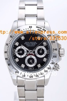 Hot Selling Mechanical Automatic Date Watch Famous Brand Luxury Diamond Cosmograph Black Face Men Dive Watches Gift Box DTN 028