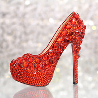 Fashion genuine leather red crystal wedding shoes bridal shoes women pumps high heels sapatos shoes platform ladies shoes