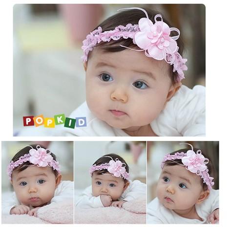 mixed color cute fabric net flower baby kids infant Crochet Headbands & elastic hairbands(China (Mainland))