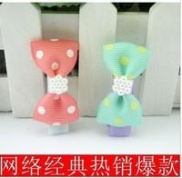Korean children's little pearl hairpin bow burst models side folder hair jewelry  BABY HAIRCLIP