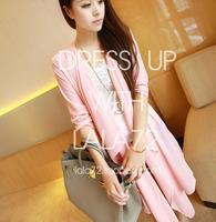 Women Fashion Full Sleeve Asymmetrical Hem Semi Sheer Solid Pink Loose Long Cardigan Thin Outerwear  Free Shipping A521-A-8848