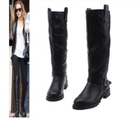 Fashion british style solid color buckle knee-high women's boots high-leg boots boots