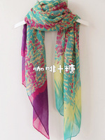 sale 2013 sp flame flowers bright color two-color scarf cape ultralarge dual-use ultra long thin scarf  fashion women