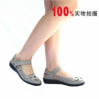 Series comfortable leather flat heel round toe sandals cc41 beige
