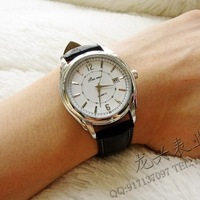 New arrival male watch commercial calendar genuine leather strap mens watch vintage quartz watch