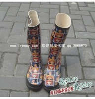 Cartoon head portrait rain boots rainboots water shoes 0909 42