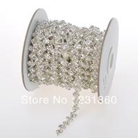 1 Yard Stunning Clear Rhinestone Silver Chain Bridal Dress Costume Trim Applique