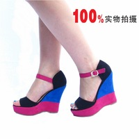 Elegant super high wedges sandals multicolour mix match cc133 black blue